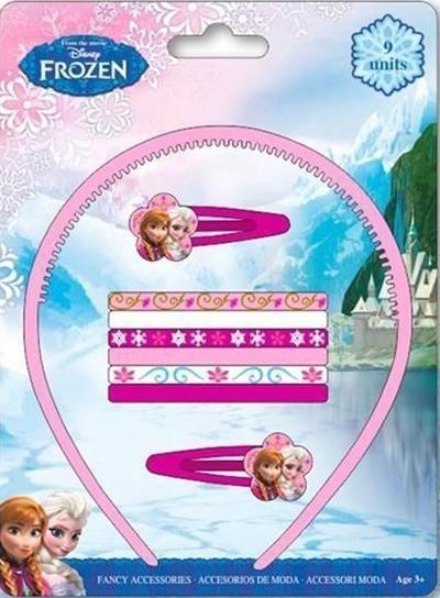 Sada sponek a gumiček do vlasů 9 ks na blistru s motivem Disney Ledové  království. e7d2856d16