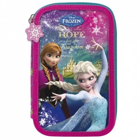 Dvoupatrové pouzdro Disney Frozen se zapínáním na zip obsahuje kompletní  vybavení  10 ks pastelky bbc2496c84