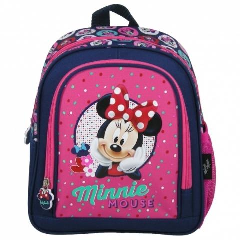 Dětský kvalitní předškolní batoh v designu Minnie Mouse s jednou hlavní  kapsou a jednou přední kapsou 888d1dd680