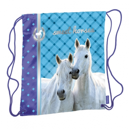 SÁČEK NA PŘEZŮVKY, CVIČKY HORSE KONĚ modrý
