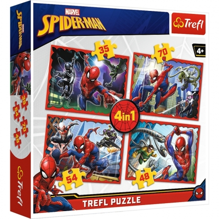 PUZZLE SPIDERMAN 4 V 1 MIX 35,48,54 A 70 DÍLKŮ