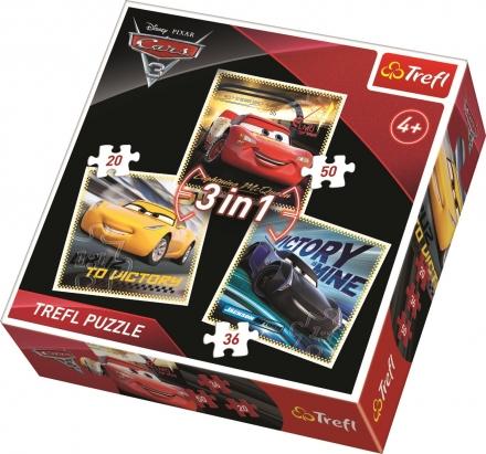 PUZZLE DISNEY CARS 3 ZÁVODNÍCI 3 V 1 MIX 20,36,50…