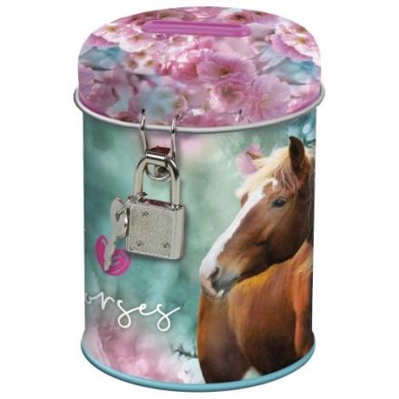 POKLADNIČKA SE ZÁMKEM KONĚ I LOVE HORSES