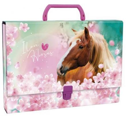 KUFŘÍK A4 S RUKOJETÍ KONĚ I LOVE HORSES