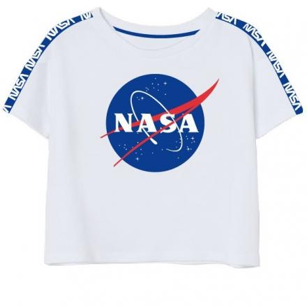 DÍVČÍ TRIČKO CROP TOP NASA bílé