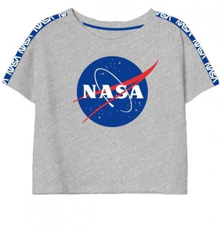 DÍVČÍ TRIČKO CROP TOP NASA šedé